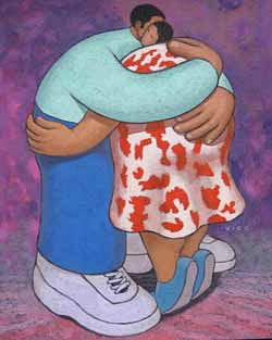 Couple hugging one another, acrylic painting by Vico